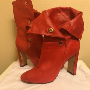 Jimmy Choo Red Leather Snap Boot